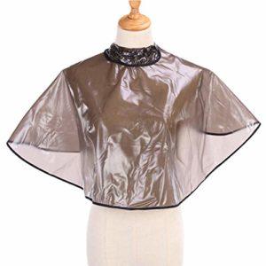 SUPVOX Cape Coiffure Professionnel Imperméable Élastique Cape Cheveux Coloration Coiffeur Salon Marron Transparent