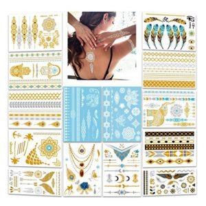 Tatouage temporaire femm fille, Konsait Tatouages Temporaires bras poignet Tattoos éphémères Autocollants métalliques Étanche Dorés(14 feuilles)