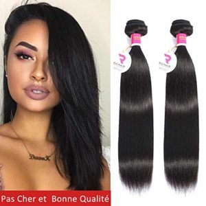 Tissage Bresilien En Lot 2 Bundles Lisse 20 Pouces Meches Bresiliennes 50g/paquet Cheveux Naturel Humain Vierges Straight Extensions Hair 8A