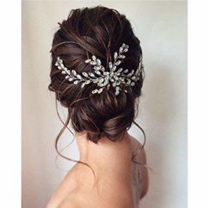 Unicra Accessoires de cheveux peigne fleur mariage cheveux avec cristal tête nuptiale peignes pour la mariée (argent)