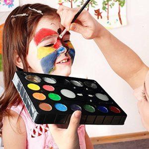 Visage Peinture Enfants, Peinture corporelle Kits de peinture faciale Peinture Huile non toxique, Idéal pour Noël, Fêtes d'anniversaire 13 Couleur, 2 paillettes en poudre, 2 stylos