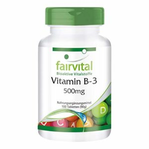 Vitamine B-3 Niacine 500mg – 100 comprimés végans – hautement dosé – substance pure