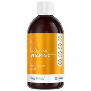 VITAMINE C LIPOSOMALE LIQUIDE 1000mg – Vitamine C Liquide, Vitamine E Liquide, Dosage ultra Puissant, Complément Alimentaire, Vitamine C Naturelle, réduit la Fatigue, Collagène, Vegan, 250ml