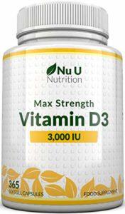 Vitamine D3 3,000 IU 365 Capsules Softgel (Approvisionnement pour Une Année Complète) Supplément de Vitamine D3 Triple Puissance, Haute Absorption du Cholécalciférol, Sans Gluten et Produits Laitiers par Nu U Nutrition
