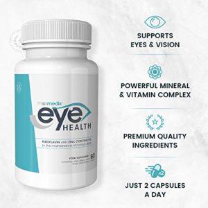 VITAMINES pour les YEUX – LUTEINE 20 mg | 1000mg Poudre de MYRTILLE, d'HUILE DE POISSON, 100mg Acide Lipoïque, vitamine B2 et ZINC | Remède contre fatigue oculaire, migraines ophtalmiques | 60 gélules