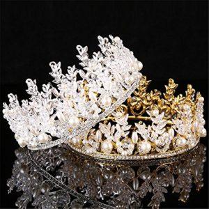 Weddwith Accessoires de coiffure Tiare Europe Couronne Alliage d'argent Strass Mariée de bijoux Couronne Mariée (2 paquets)