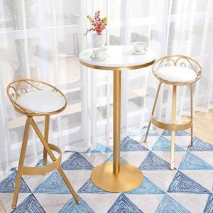XUEPING Nordic Iron Bar Chaise Casual Moderne 360 degrés Rotation Golden Tabouret De Bar Home Mode 3 Ensembles Compteur Chaise (Couleur : B)