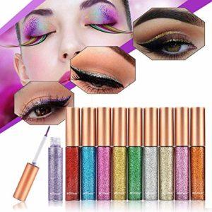 10 Couleurs Set Eyeliner Métalique Brillant Liquide Impermeable Brillant Argent Doré Multi-couleur Adaptable pour la Fête