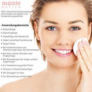 100% Pure Eau de Rose MonteNativo – 200ml – 100% Naturel, Lotion Tonifiante pour le visage, Hydrolat naturel de rose, Triple purification, eau florale de rose