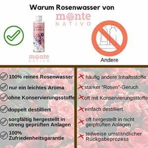 100% Pure Eau de Rose MonteNativo – 2x200ml – 100% Bio et Naturel, Lotion Tonifiante pour le visage, Hydrolat naturel de rose, Triple purification, eau florale de rose