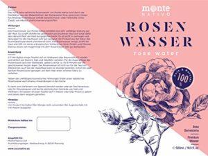 100% Pure Eau de Rose MonteNativo – 500ml – 100% Bio et Naturel, Lotion Tonifiante pour le visage, Hydrolat naturel de rose, Triple purification, eau florale de rose