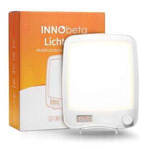10000 Lux Lampe Luminotherapie avec Reveil Simulateur D'aube, Reveil Luminothérapie Lumineux Lumiere du Jour, 20 Niveaux de Luminosité sans UV, Adaptateur et Pied Pliant Inclus – InnoBeta Lichtopia