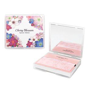 [200 comtes + étui à miroir] Feuilles de papier absorbant pour le visage Cherry Blossom avec miroir de maquillage – Feuilles absorbant l'huile fabriquées au Japon