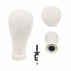 21-58,4 cm en liège sur toile Bloc Tête Manequin Tête Perruque tête à coiffer d'affichage avec du trou de fixation 53,3 cm (Table Clamp support inclus)