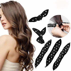 30 Pcs Bigoudis de Cheveux, MS.DEAR Flexible Magiques Eponge de Nuit Sommeil Sans Chaleur DIY Coiffure Outil Bricolage Styling Tools (Noir)