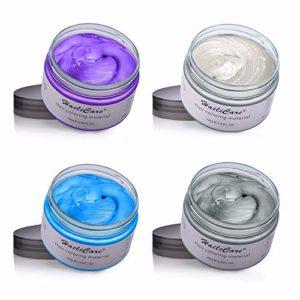 4x 120g MOFAJANG Cire Colorant Cheveux Temporaire-Gris, Blanc, Violet, Bleu DIY Colorante Cheveux pour Festivals Cosplay Soirées(4 Couleurs)
