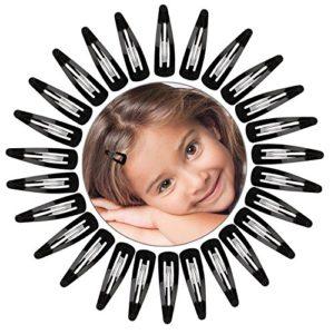 50 Pièces Pinces à Cheveux Barrettes Clic pour Enfants, Filles et Femmes, 50 mm (Noir)