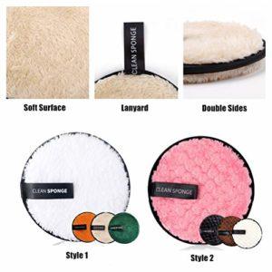 8 Pcs Coton Demaquillant Lavable,Tampons Démaquillants Biologique,Éponge Démaquillage Réutilisable,Nettoyage du visage Tampons En Coton, Makeup Pads Démaquillant Microfibre Avec Sac à Linge