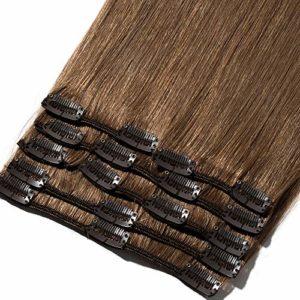 8″-24″ Extension a Clip Cheveux Naturel Rajout 100% Vrai Cheveux Humain Remy – Volume Moyen 8 Pcs (#06 Châtain clair, 20cm-65g)