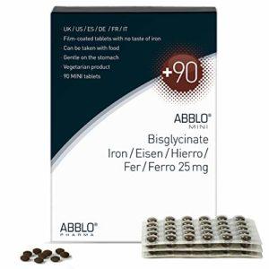 ABBLO Fer Bisglycinate 25mg / Fer Amino-Chelated 25mg (Iron Bisglycinate) 1 comprimé par jour est suffisant (Blisterpack 90 comprimés)