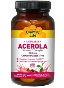 Acerola, la vitamine C à croquer, Cerise, 500 mg, 90 Wafers – Country Life