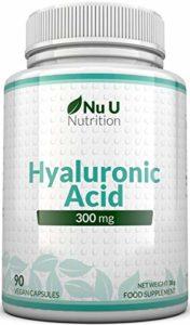 Acide Hyaluronique 300 mg – 90 capsules (approvisionnement de 3 mois) – Triple force par rapport à de nombreuses marques, par Nu U Nutrition