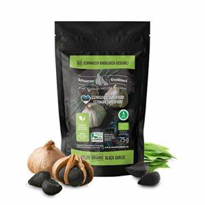 Ail noir pelé biologique – végétalien, fermenté, à haute dose, certifié naturel – ail noir écologique fermenté – fabriqué en Scandinavie