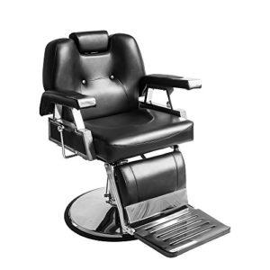 ANABELLE Fauteuil de Coiffeur Classic Hydraulique Inclinable Barber Reclinable 360° en PU Cuir + Plastique avec Chrome Repos Pied pour Salon Professionnel et Maison, Taille: 110 x 70 x 100 cm, Noir