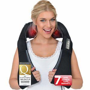Appareil de massage shiatsu pour épaule, nuque, cou, dos et jambes- Soulage les douleurs musculaires du corps- Avec la fonction chauffante infrarouge- Relaxation complete- Avec adaptateur pour maison, bureau, voiture