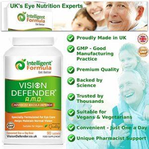 AREDS2 VISION DEFENDER AMD Supplément: lutéine, zéaxanthine, zinc, vitamine E – Formule AREDS 2 vitamines oculaires, minéraux, nutriments pour les yeux. Fourniture en 3 mois (90 comprimés)