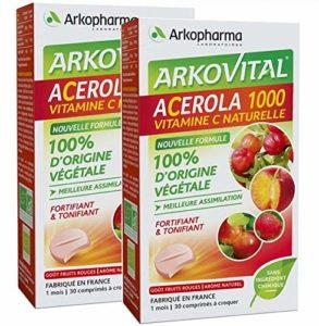 Arkopharma – lot de 2 boites Arkovital Acerola 1000 – gout fruits rouges – 60 Comprimés à Croquer