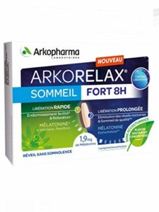 ARKORELAX SOMMEIL FORT 8 H – Chrono Libération – 1,9mg melatonine 5 extraits de plantes 15 comprimé – Lot de 2 Boites (30 jours)
