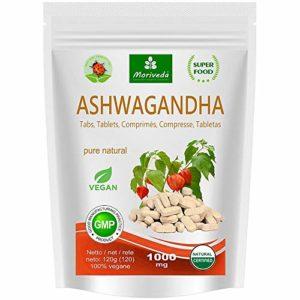 Ashwagandha capsules 600 mg ou comprimés 1000 mg – produit naturel pur de qualité supérieure – cerise d'hiver, ginseng indien (120 comprimés)