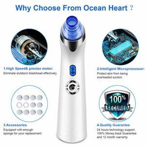 Aspirateur Point Noirs- Ocean Heart Multifonctionnel Extracteur de Points Noirs, éliminer les Acné, nettoyer les points noirs, aspirateur bouton avec affichage LED pour les soins du visage