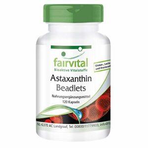Astaxanthine dose journalière 15mg, naturelle, en AstaPure Beadlets, microencapsulées Complexe astaxanthine, haute dose, sans stéarate de magnésium – 120 gélules – Substance pure – antioxydant pour la protection cellulaire, protège la peau