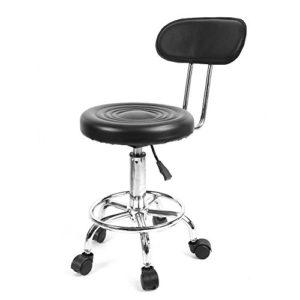 Barber Chair Salon Beauty Spa Styling Equipment Réglable en hauteur et tabouret pivotant à coussin rembourré pour le tatouage de la coiffure de massage (Plage de hauteur: 74~87cm) Noir