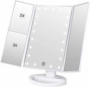 BESTOPE Miroir Maquillage Cosmétique 21 LED Éclairées Miroir Lumière Triple de Pliable Grossissement 1X/2X/3X Miroirs LED 180°Ajustable Avec Bouton tactile Batterie câble USB