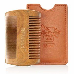 BFWood Peigne moustache de poche – Peigne en bois de santal avec étui en cuir