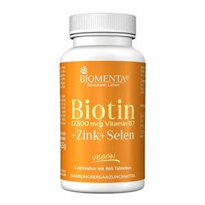 Biomenta BIOTINE dose élevée 12.500 µg + Zinc + Sélénium – 365 VÉgÉTALIEN comprimés de biotine – pour sain Cheveux, Peau et Ongles Spa de l'année