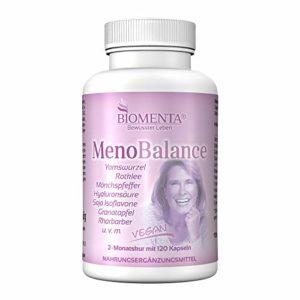 BIOMENTA Meno Balance avec patate douce, trèfle rouge, Alchémille, Gattilier, acide hyaluron., RHUBARBE, Grenade, soja Isoflavone, lin (Omega-3), fer, Vitamine C 120 VÉGÉTALIEN menopause-kapseln 2