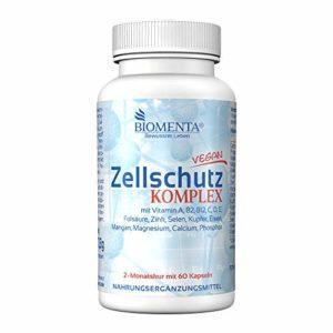 BIOMENTA protection cellulaire Complexe avec vitamines A, B, C, D, E + Manganèse,cuivre, fer, calcium, magnésium, zinc, sélénium, phosphor 60 zellschutz-kapseln 2 cure de mois