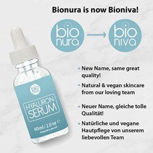 Bionura Sérum à l'Acide Hyaluronique Hydratant pour le visage contient Vitamine C + thé vert + Vitamine E. Hyaluron Sérum anti age et anti rides idéal pour une utilisation avec dermaroller.