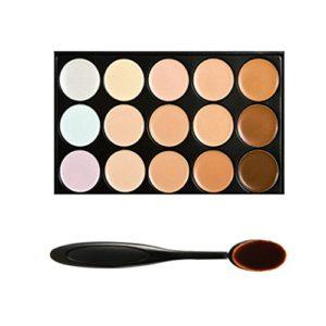 Boolavard Professional – Palette de 15Couleurs de correction : anticernes, Contour des Yeux, Crème pour le Visage, avec brosse de maquillage ovale.