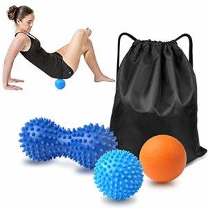 Boules de massage,GVOO 4Pcs Set de 3 balles de massage différentes Boule de Massage des Pieds Balle à Point Boule d'arachide Balle de Fascias Elimine les tensions Trigger Point avec Poche de tirage