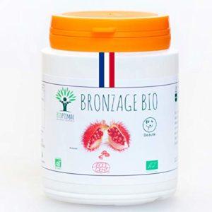 Bronzage bio | 200 gélules | Complément alimentaire | Autobronzant naturel Teint hâlé Préparation au soleil Peau UV Urucum | Bioptimal – nutrition naturelle | Fabriqué en France | Certifié par Ecocert