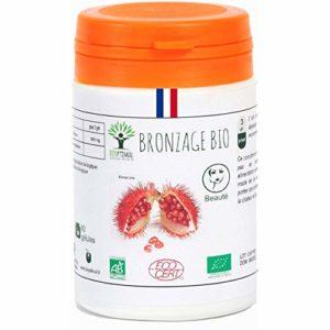Bronzage bio | 60 gélules | Complément alimentaire | Autobronzant naturel Teint hâlé Préparation au soleil Peau UV Urucum | Bioptimal – nutrition naturelle | Fabriqué en France | Certifié par Ecocert