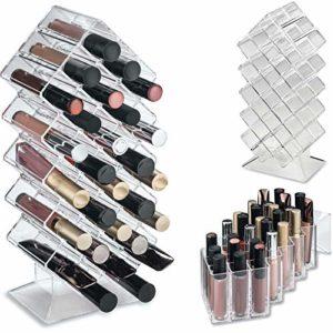 byAlegory Acrylique Lip Gloss Maquillage Organisateur 28 Espaces | Conçu pour se tenir debout et poser à plat