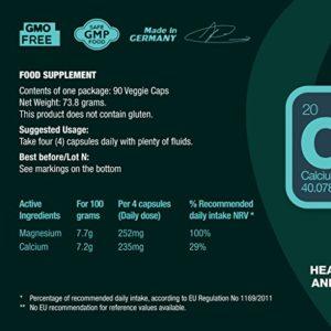CALCIUM & MAGNESIUM – Les pilules dose quotidienne fournissent 235 mg de calcium et 250 mg de magnésium de qualité supérieure. 90 comprimés végétales pilules, ne contient pas de gluten et OGM.