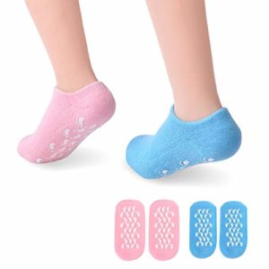 Chaussettes Gel Hydratant 2 paires, PRETTY SEE spa gel chaussettes pour lisser peau des pieds durs, huile essentielle,réparer les peaux gercées sèches, femmes/hommes