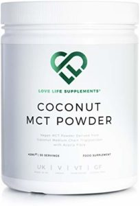 Coconut MCT Powder de LLS | Vegan | Riche en graisses saines et fibres | 0g Glucides | Parfait pour le régime Keto | 430g – 30 portions | Love Life Supplements